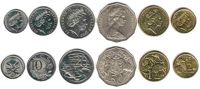 Australijos dolerių AUD monetos