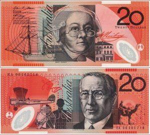 20 Australijos dolerių. Australijos dolerio kursas
