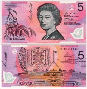 5 Australijos doleriai. Valiutos keitykla Valiuta24