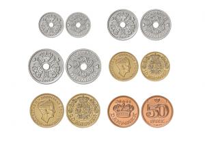 Danijos krono skursas, Danijos kronų monetos